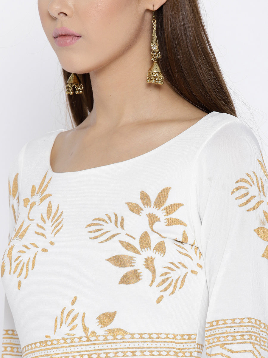 Ira Soleil Printed Slim Straight Top