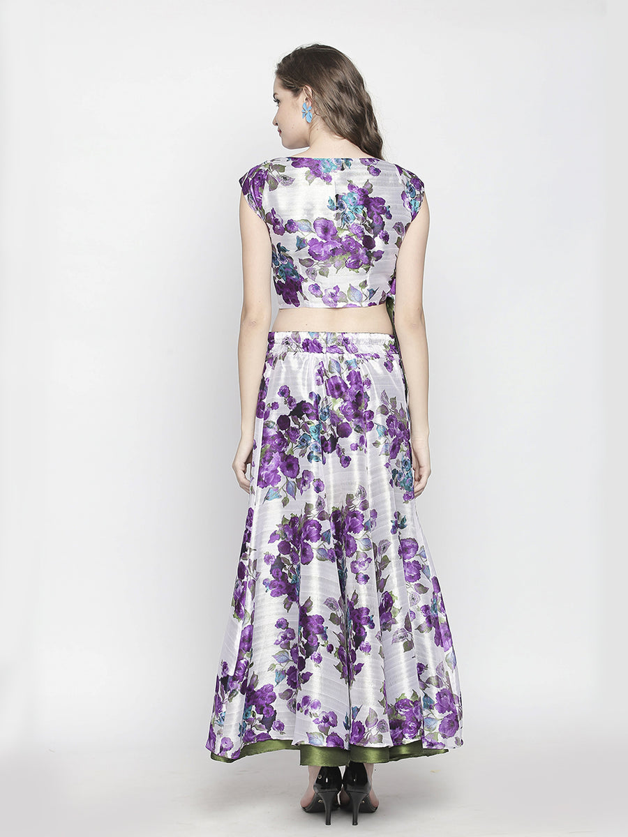 Floral Printed White Floor Length Flared Reversible Skirt