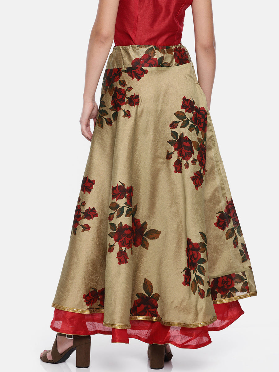Floral Printed Reversible Flared Skirt