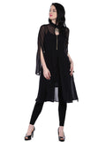 Plain Black Elbow Sleeve Mandarin Collar Knee -Length Kurti