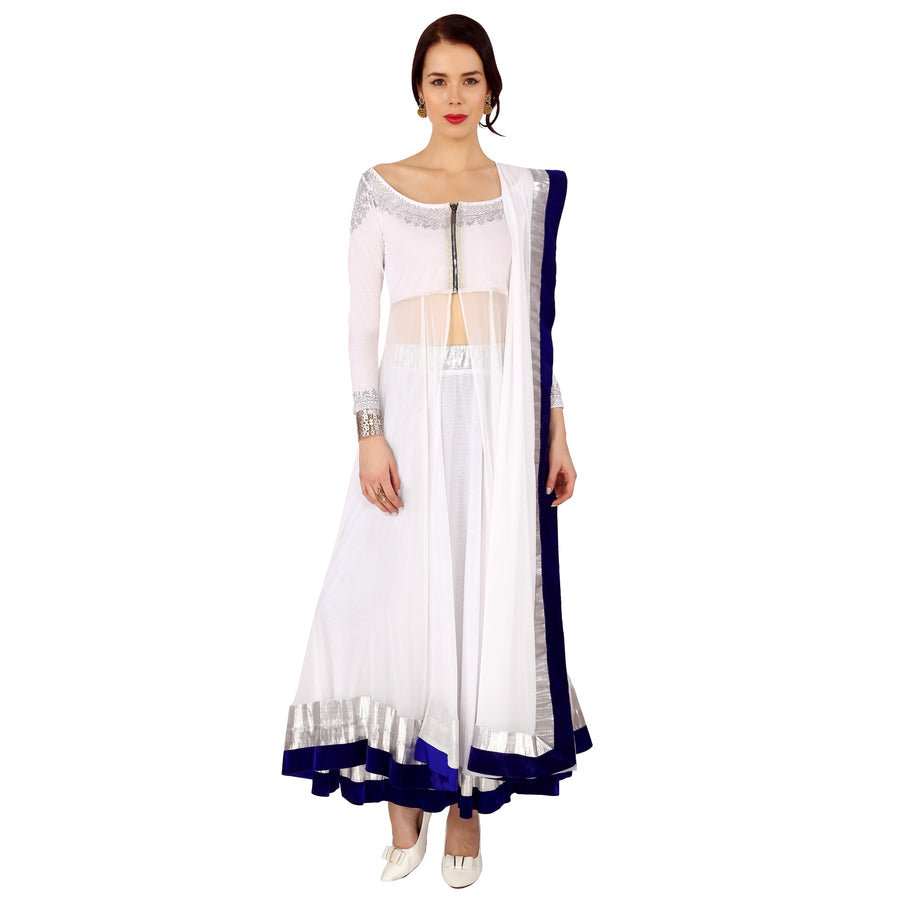 Ira Soleil White Long kurti With Lehenga & Dupatta Set.