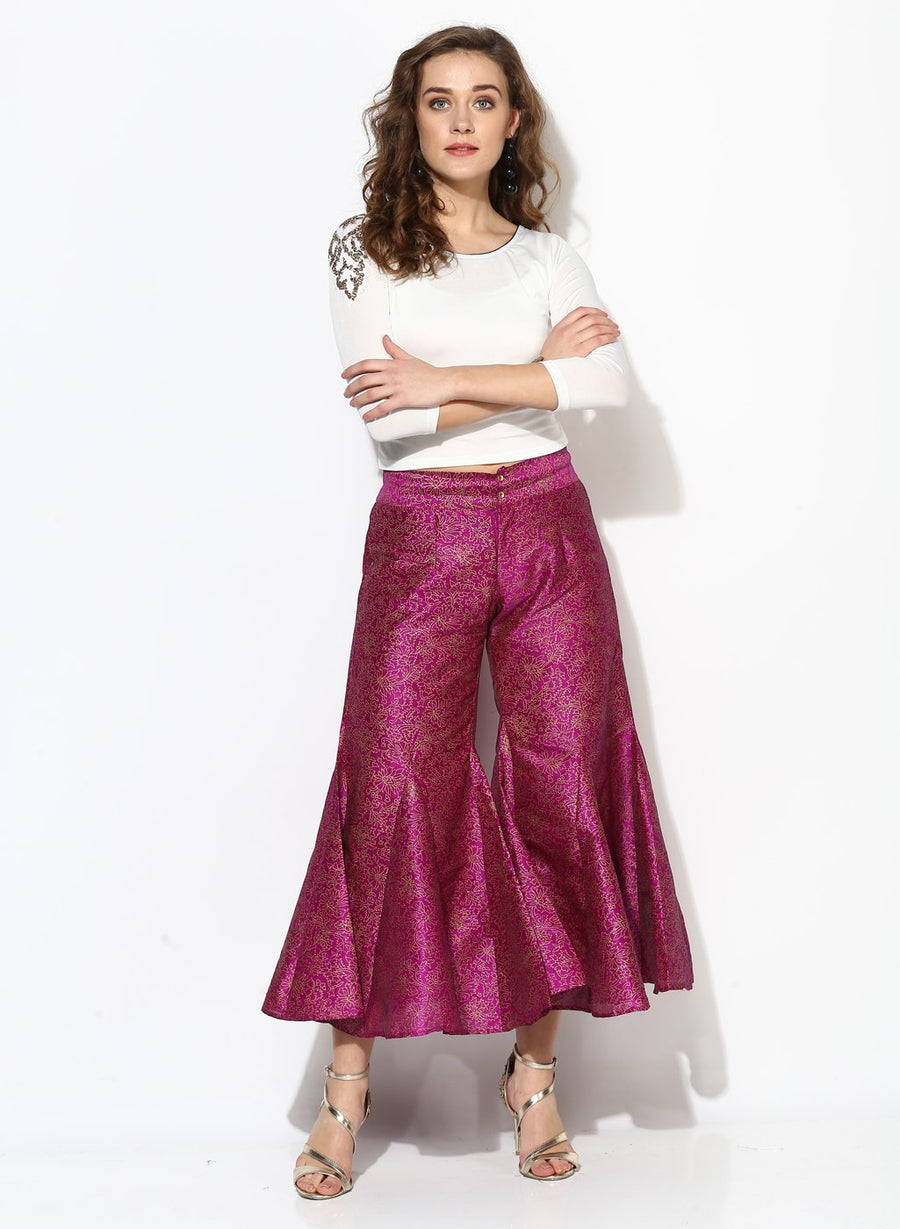 Printed Pink Flared Floor Length Jodhpuri Pant