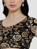 Floral Printed Black Cap Sleeve Round Neck Blouse