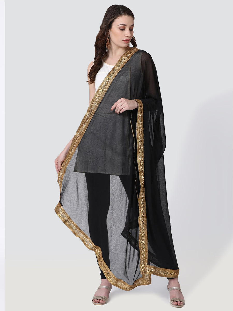 Printed Black Long Dupatta