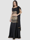 Ira Soleil Black Printed Floor Length Readymade Lehenga Set