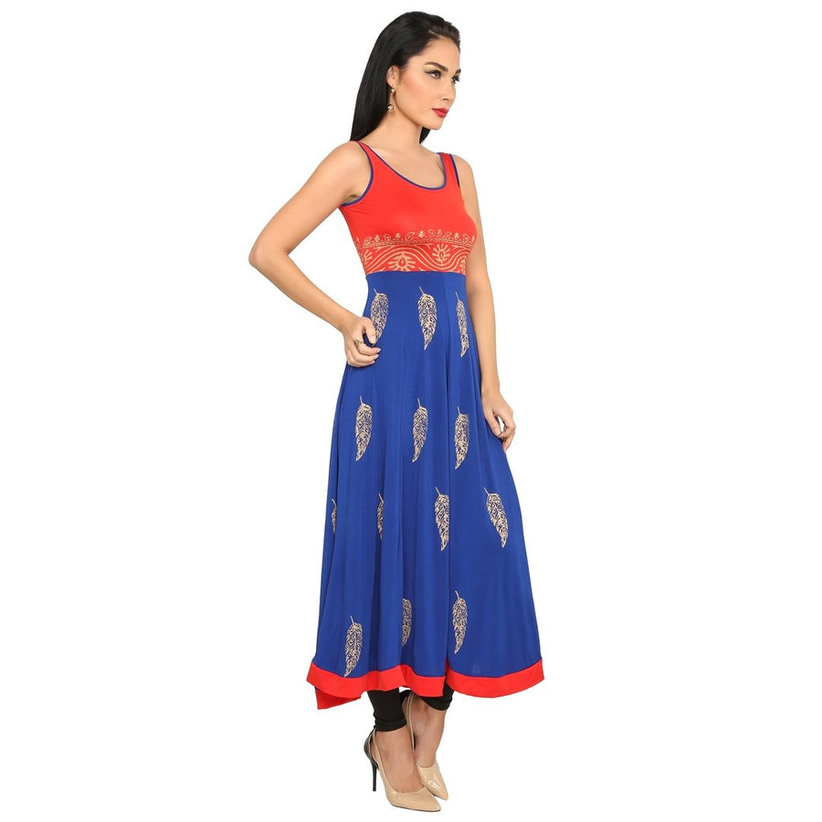 Printed Dual Colour Sleeveless Calf Length Anarkali Kurti