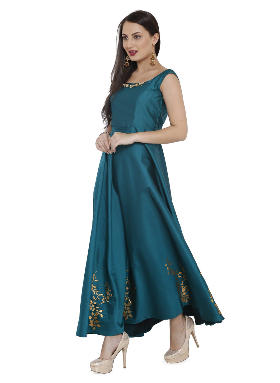Ira Soleil Embellished Flared long Gown Dress