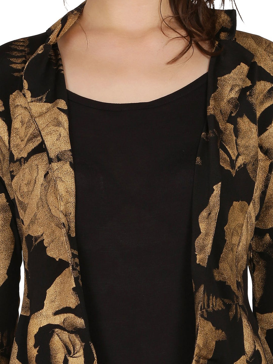 Black Floral Printed Full Sleeve Jacket