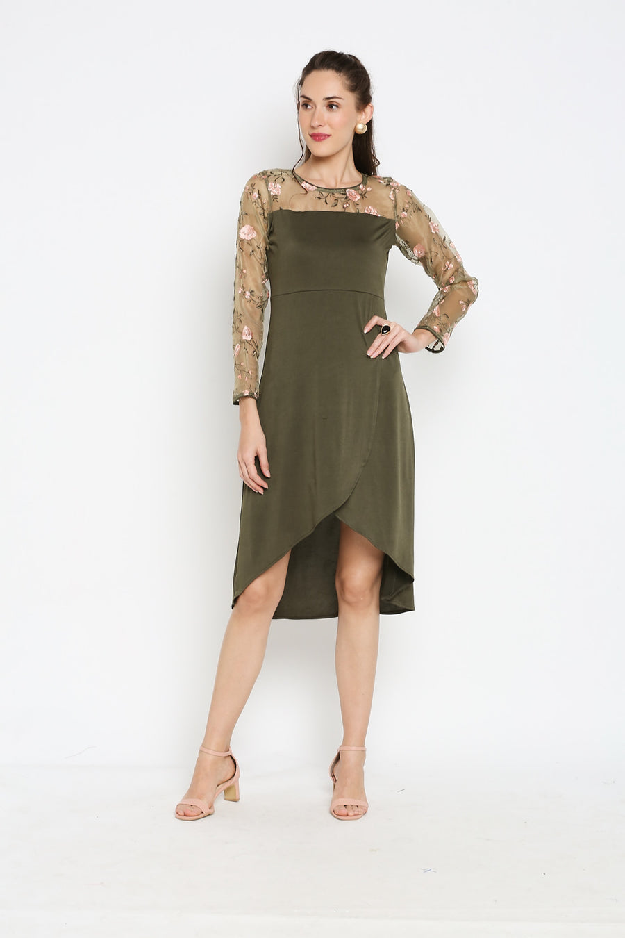 IRA SOLEIL OLIVE GREEN EMBROIDERED FULL SLEEVES DRESS