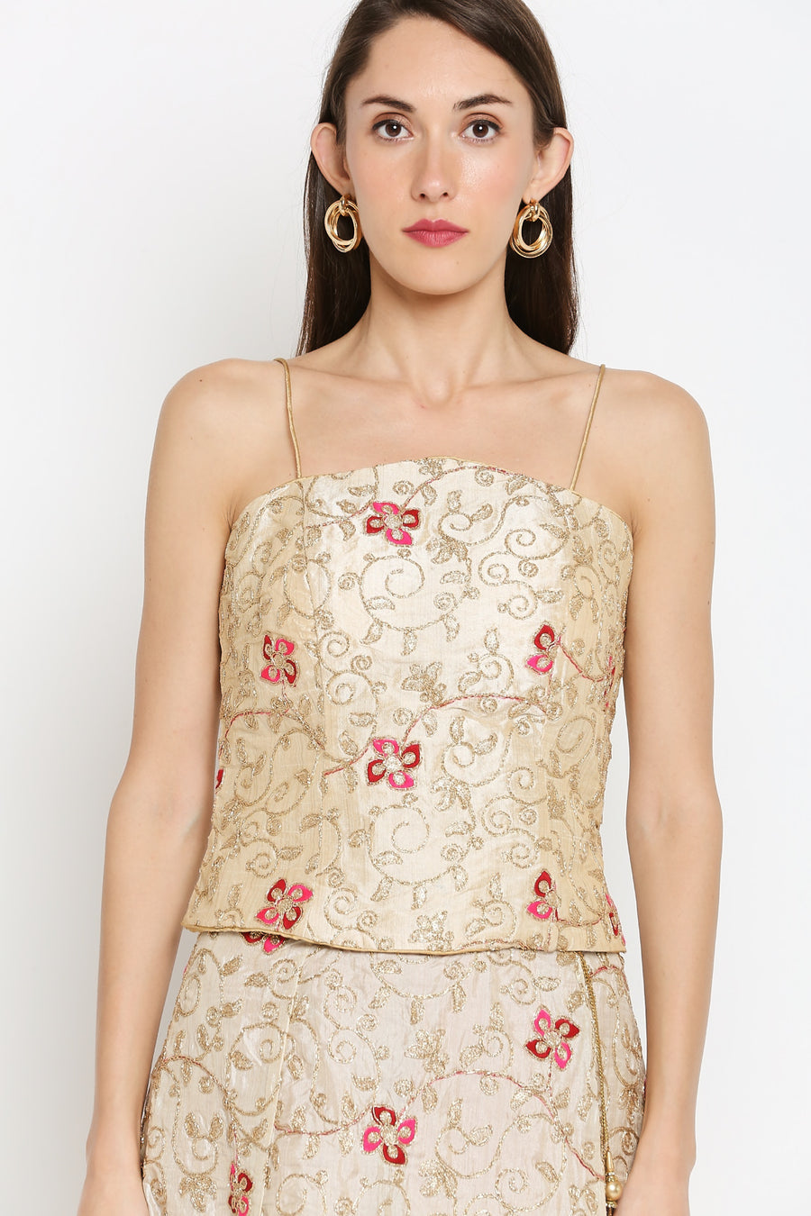 Ira Soleil Off-White Floral Embroidered Top