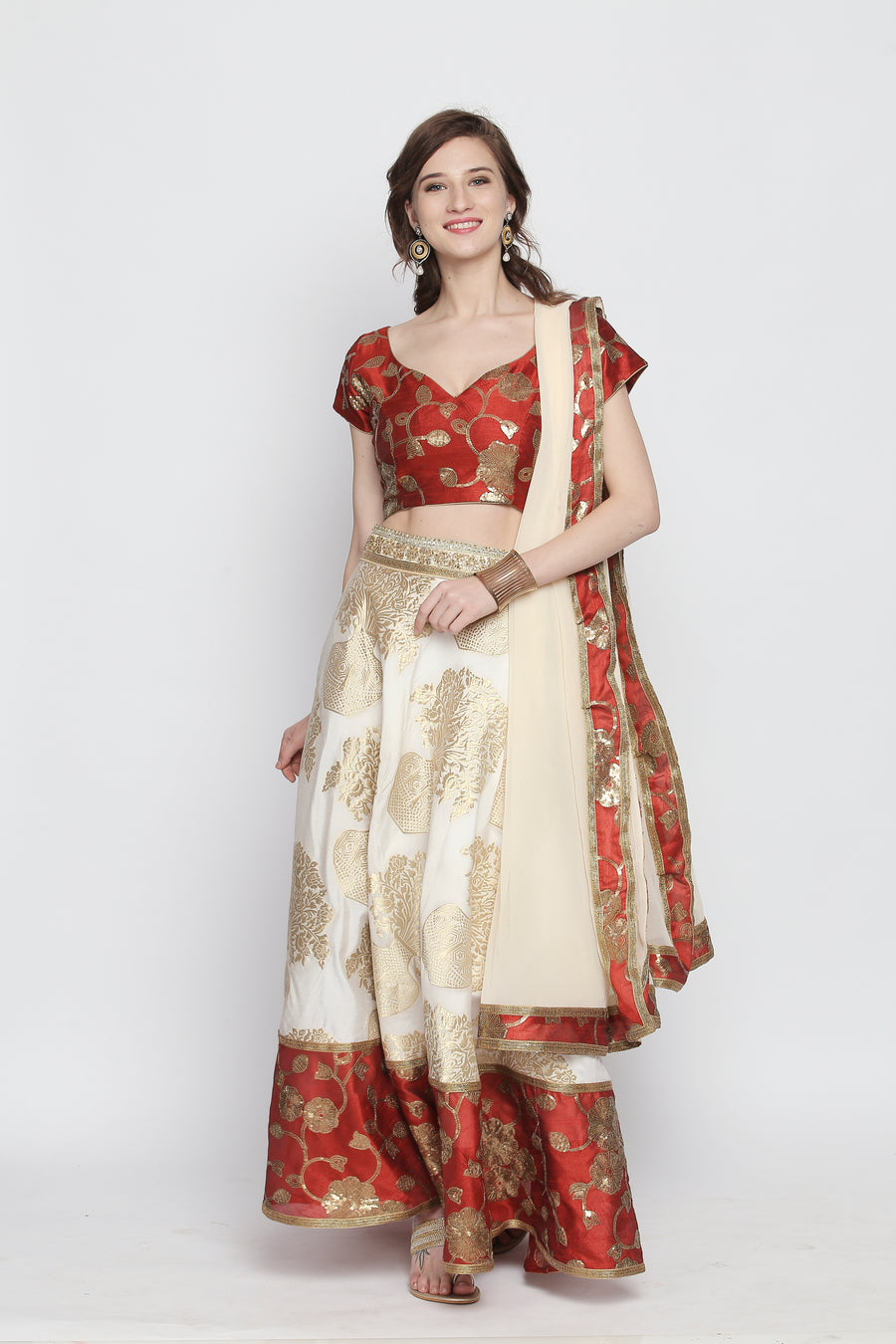 Embellished Floral Print Flared Lehenga Set