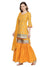 Printed Yellow Elbow Sleeve Round Neck Knee Length Kurti