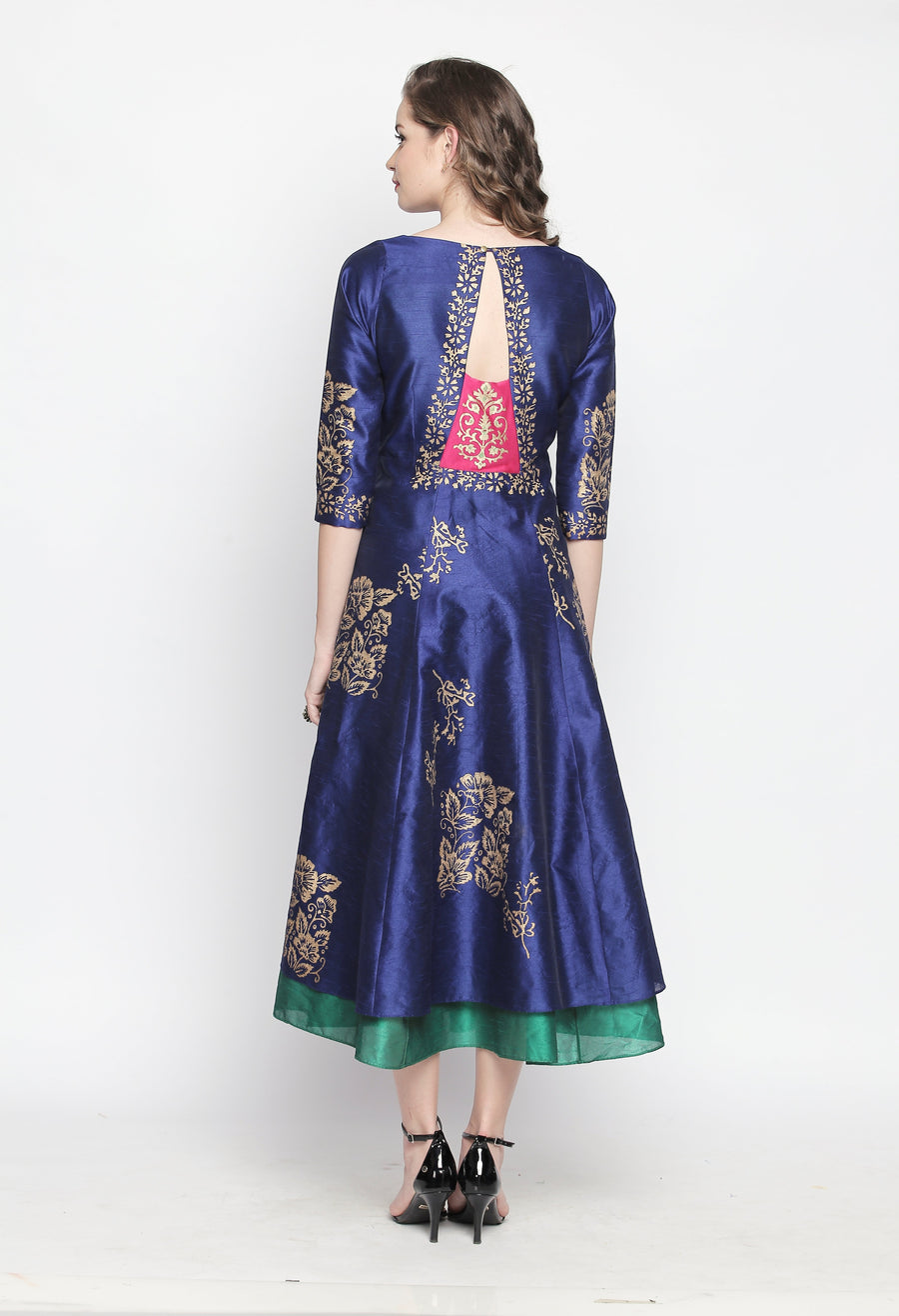 Printed Blue Three-Fourth Sleeve Round Neck Calf Length Reversible Dress