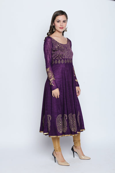 Printed Purple Full Sleeve Round Neck Mid-Thigh Anarkali Kurti