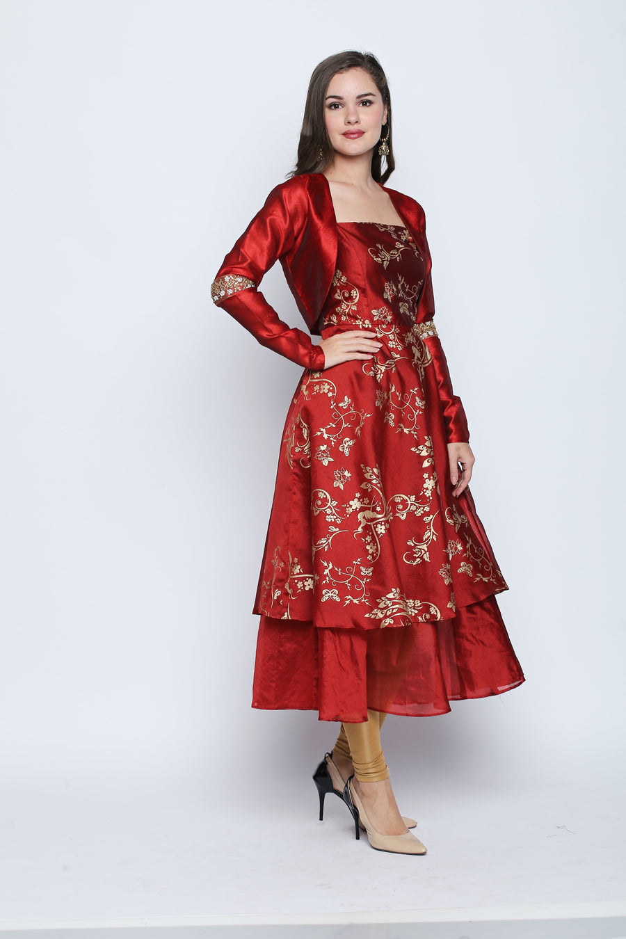 Printed Full Sleeve Round Neck Mid Thigh Length Anarkali kurti With Jacket
