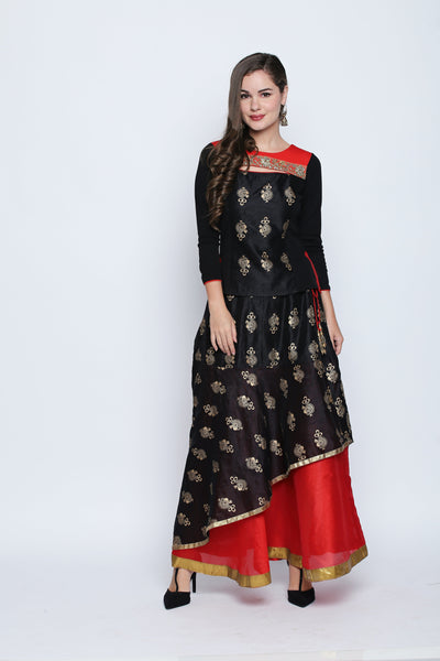Printed Black Three-Fourth Sleeve Round Neck Kurti with Dual Color Floor Length Lehenga Set
