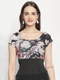 Floral Printed Half Sleeve Round Neck Flared Dress
