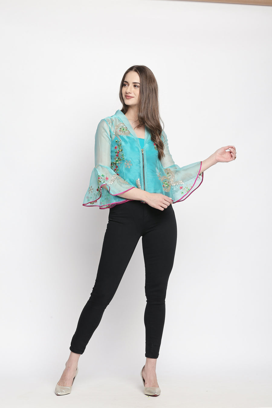 Floral Printed Turquoise Full Sleeve Round Neck jacket