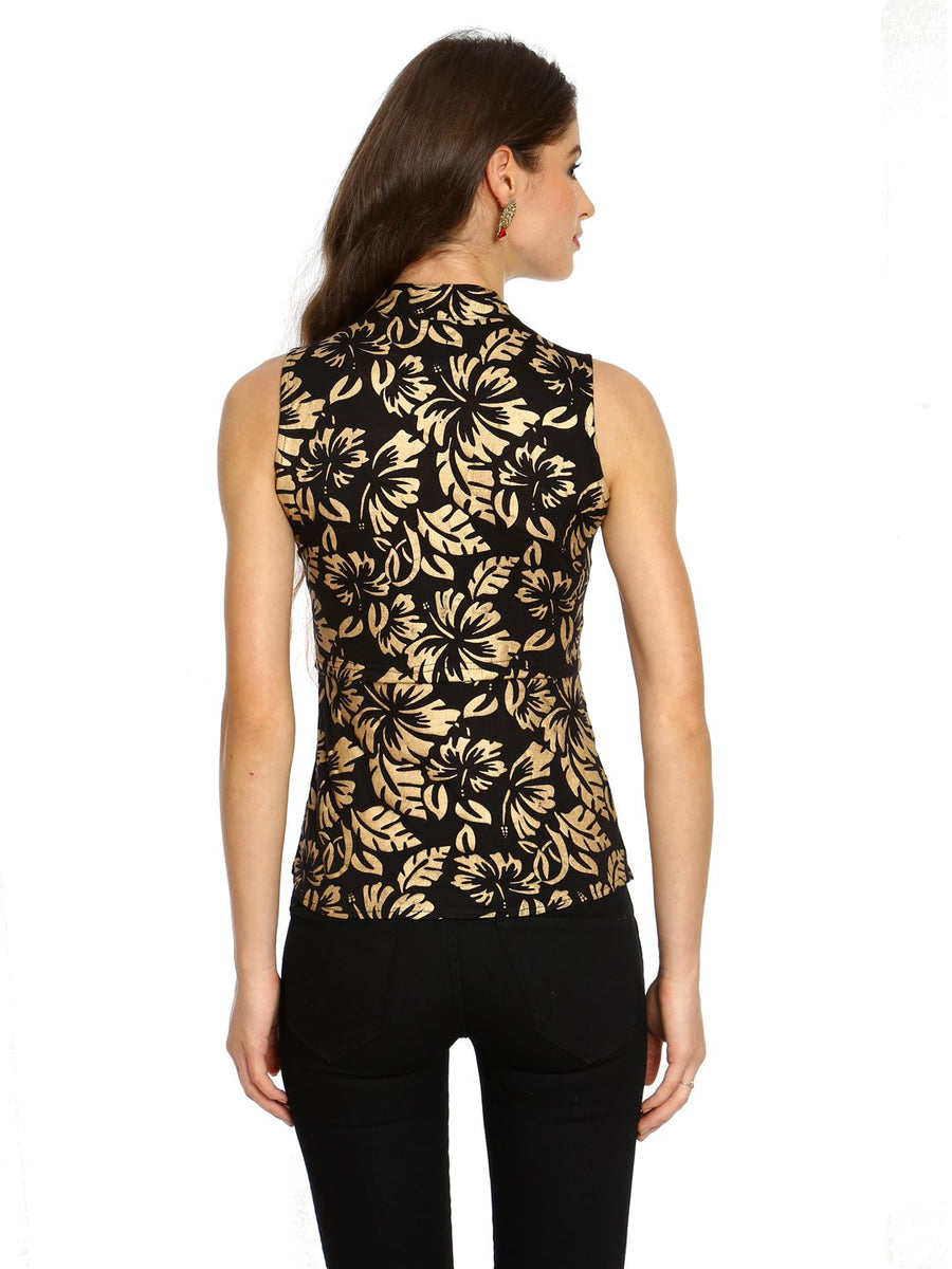Golden Floral Print Sleeveless Jacket