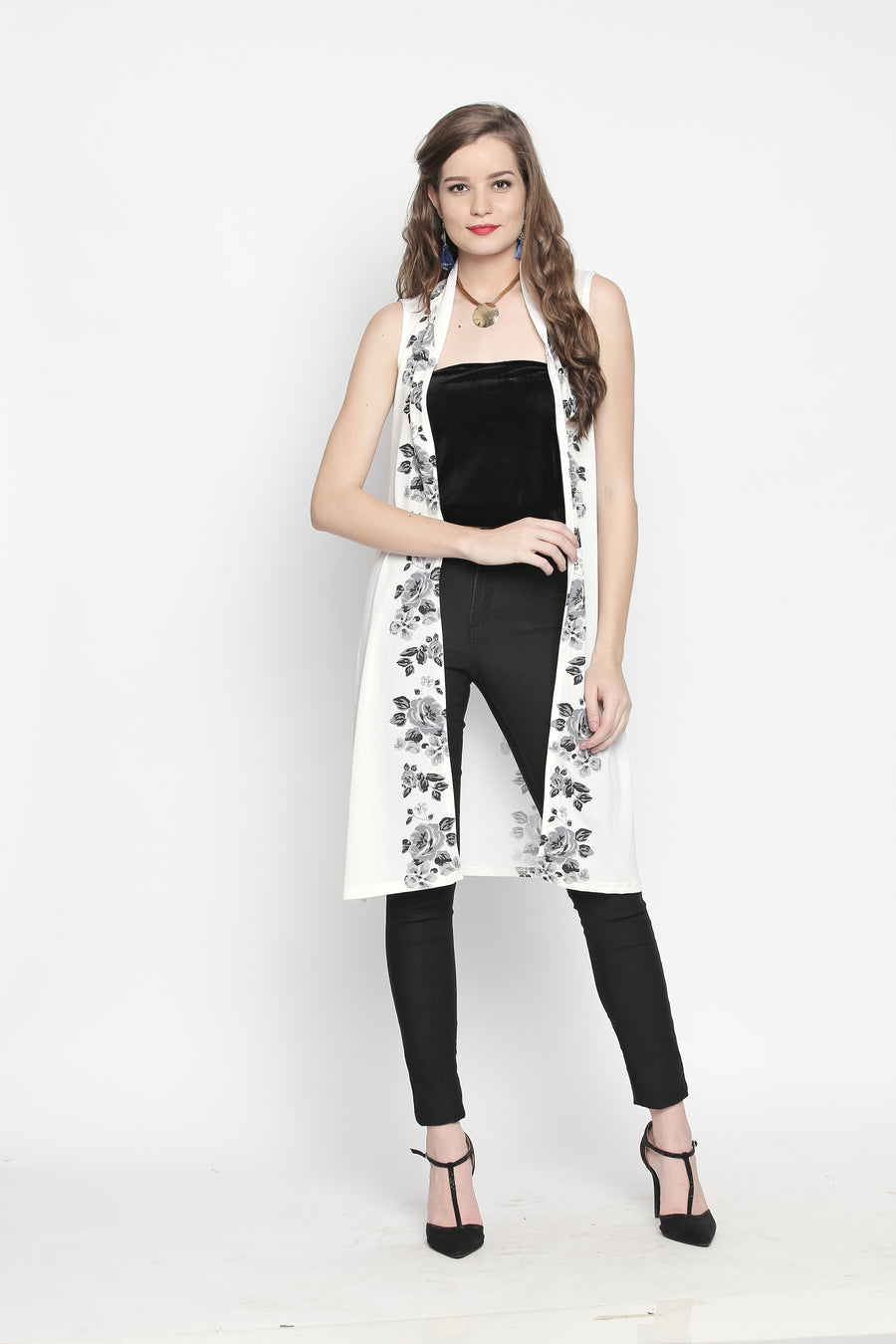 Printed White Sleeveless Long Jacket