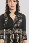 Printed Black Full Sleeve Chinese Collar Shrug