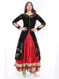 Printed Black Full Sleeve Floor Length Jacket