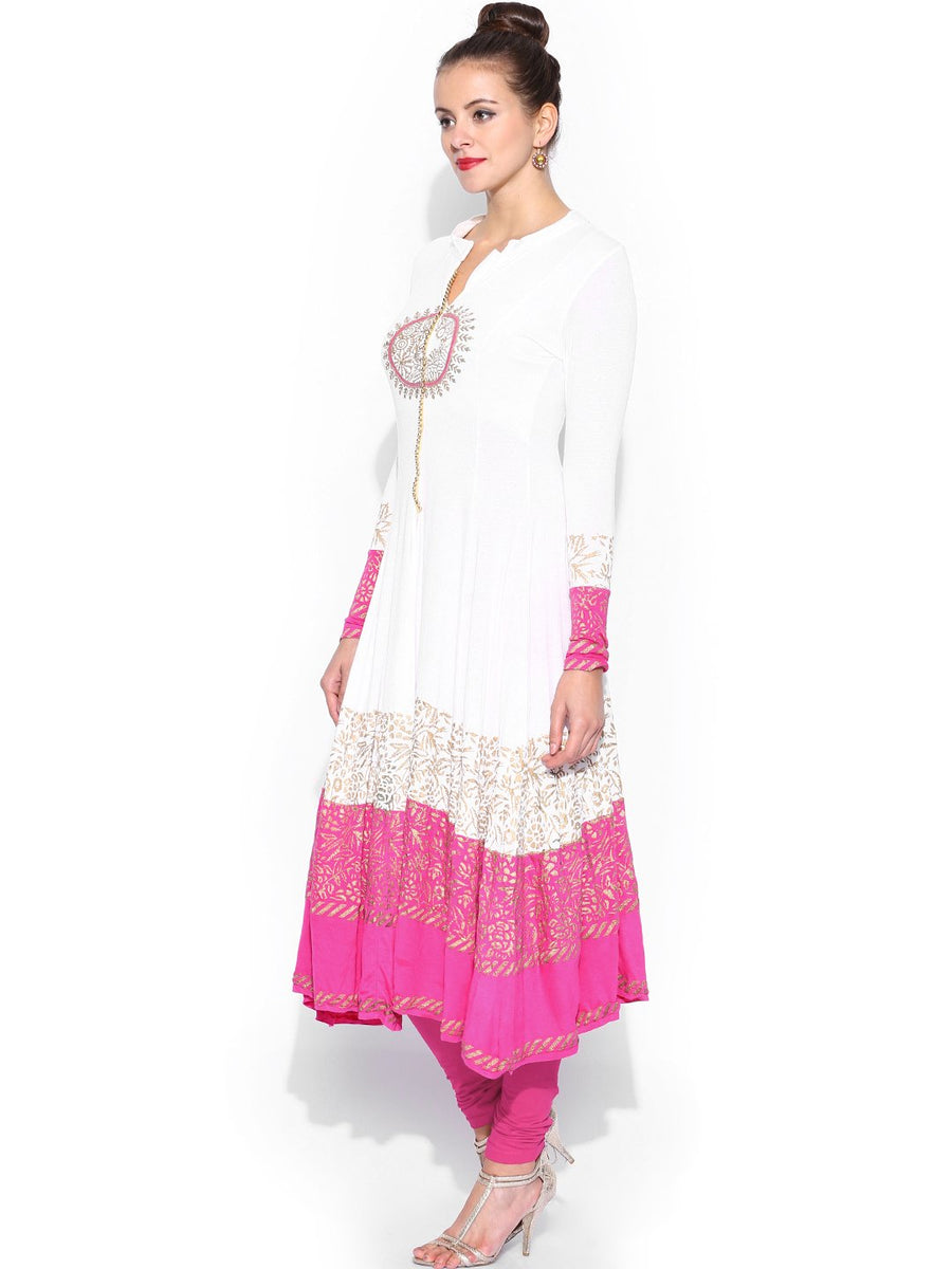 Printed White Full Sleeve Round Neck Calf Length Anarkali Kurti