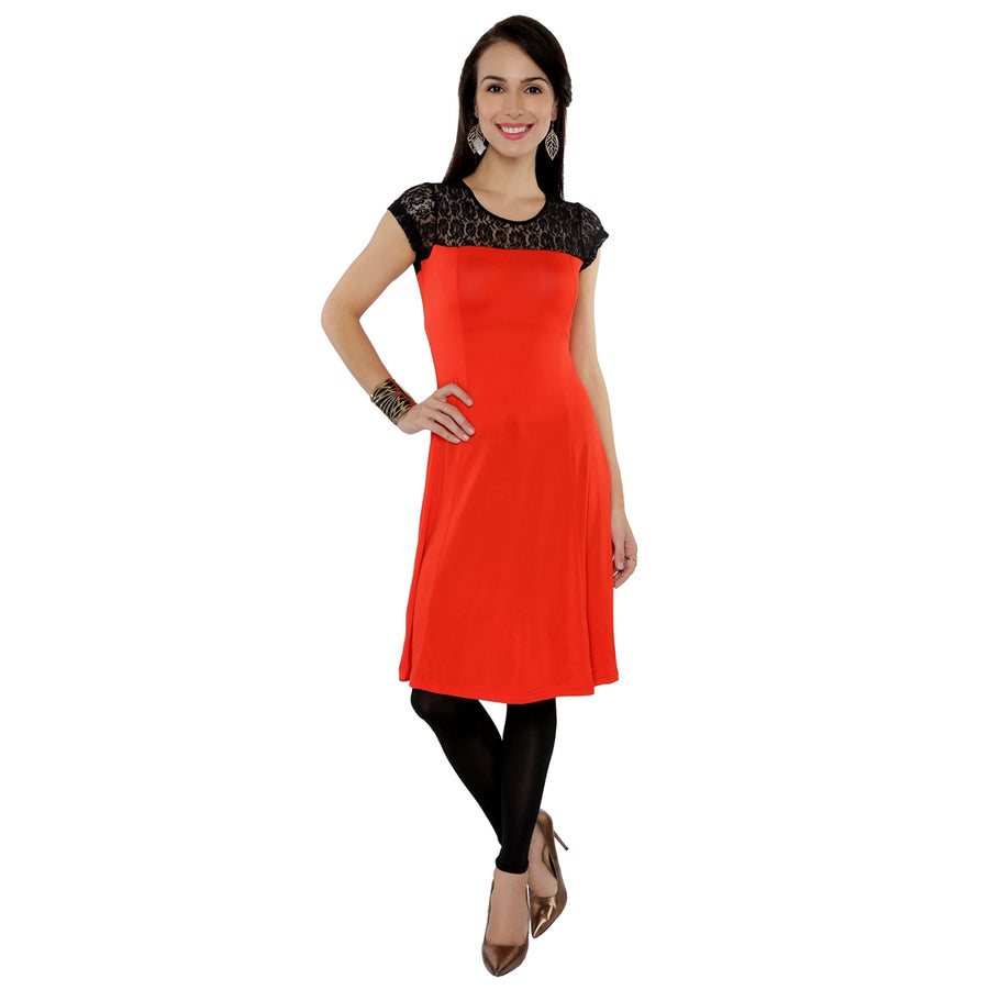 Ira Soleil Embroidered Illusion Tulle Neck with Dual Colour Above Knee A-line kurti