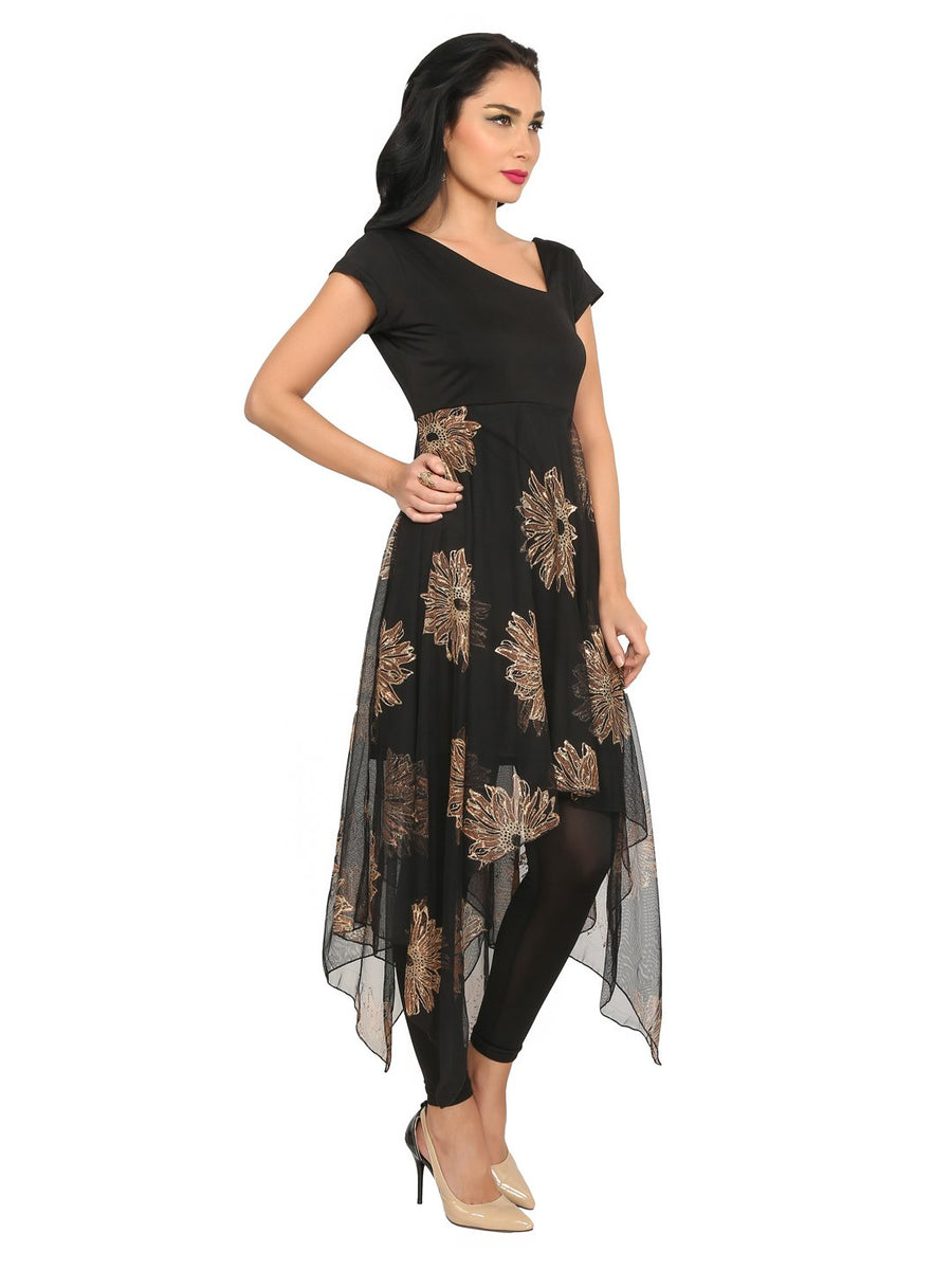 Floral Print Black Half Sleeve V-Neck Calf Length Asymmetric Kurti