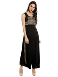 Plain Black Sleeveless Round Neck Calf Length Straight kurti