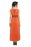 Orange Printed Sleeveless Round Neck Calf Length Straight Kurti