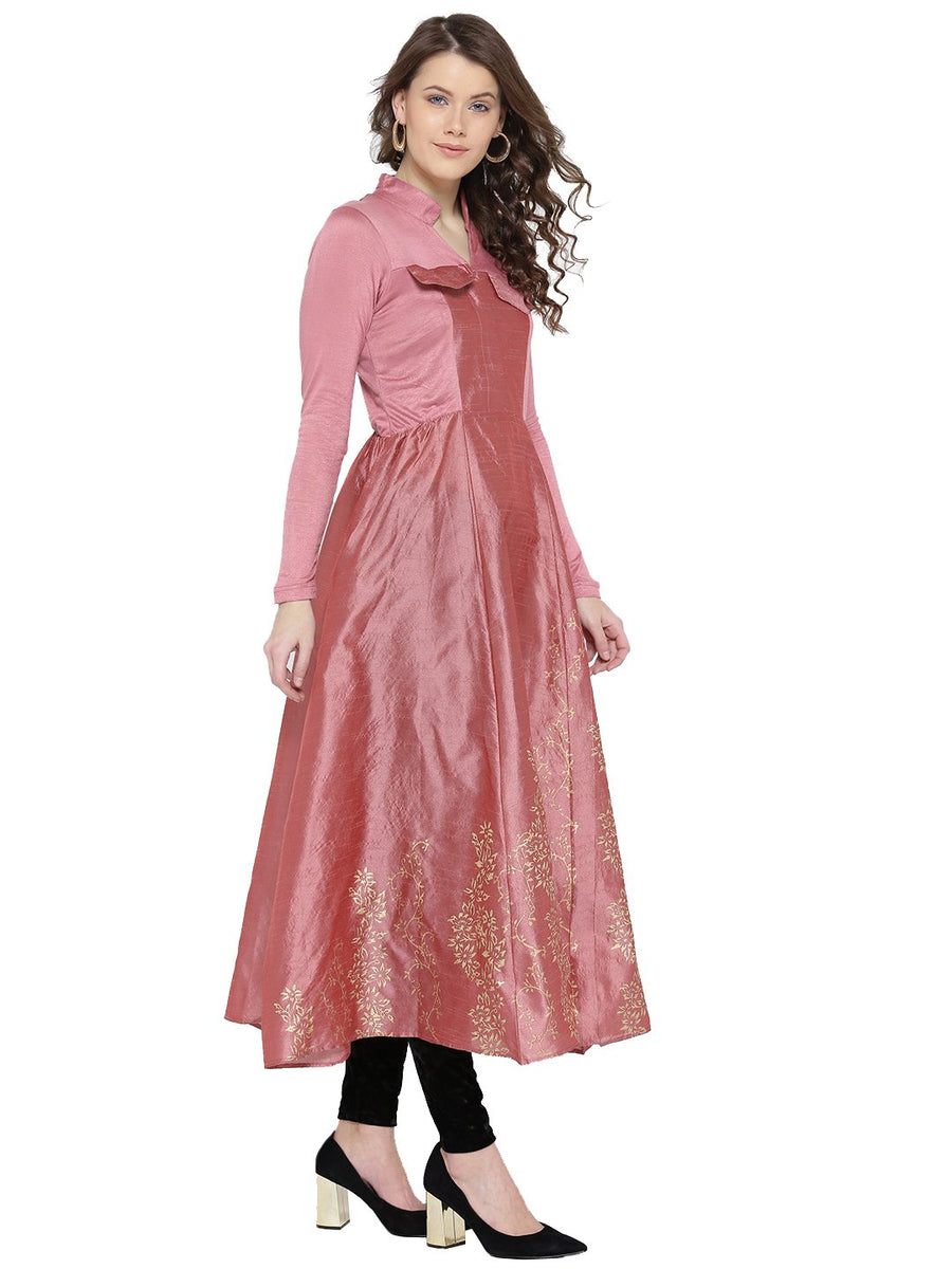 Plain Pink Full Sleeve Round Neck Anarkali Kurti