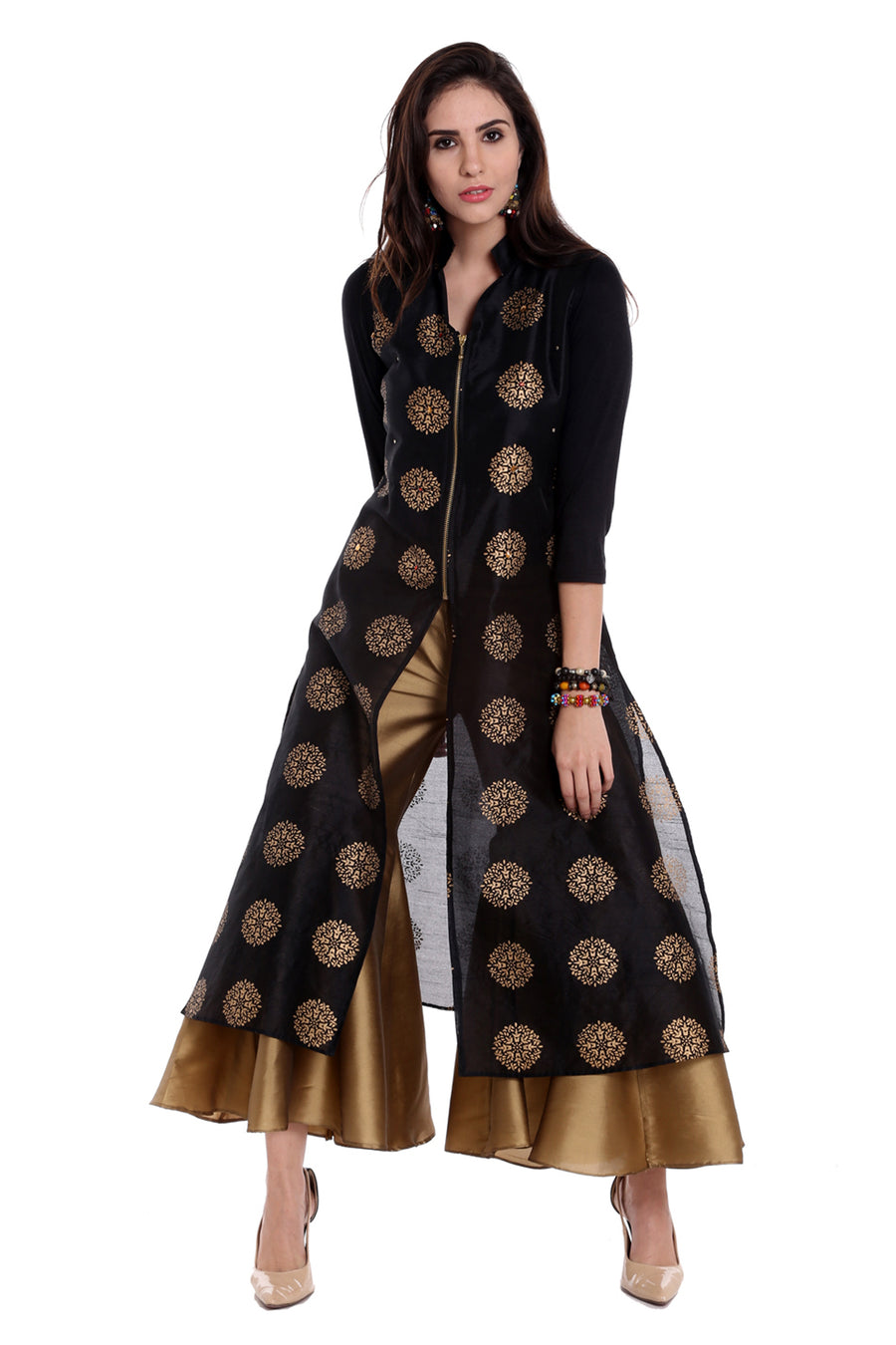 Ira Soleil Printed Mandarin Collar Long Jacket-Kurti