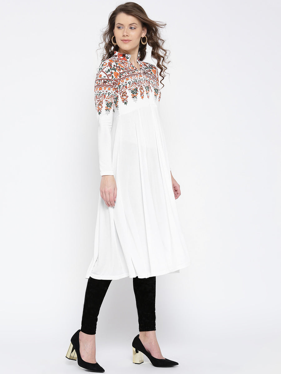 Ira Soleil White Printed Straight Fit kurti