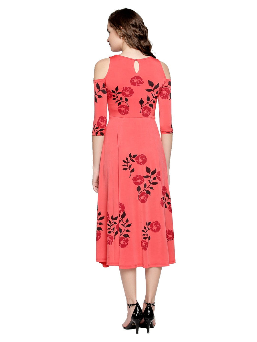 Floral Printed Full Sleeve Round Neck Calf Length Dress