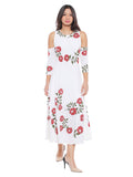 Floral Printed White round Neck Calf Length Dress