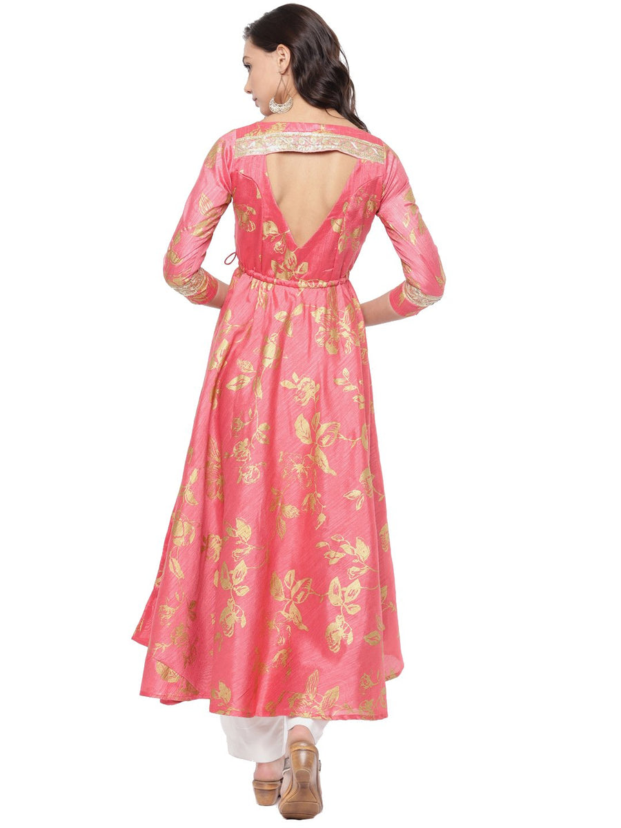 Floral Printed Three Fourth Sleeve V-Neck Calf Length Flared Anarkali kurti