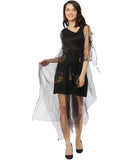 Ira Soleil Printed Black Illusion Tulle Mid-Thigh Dress