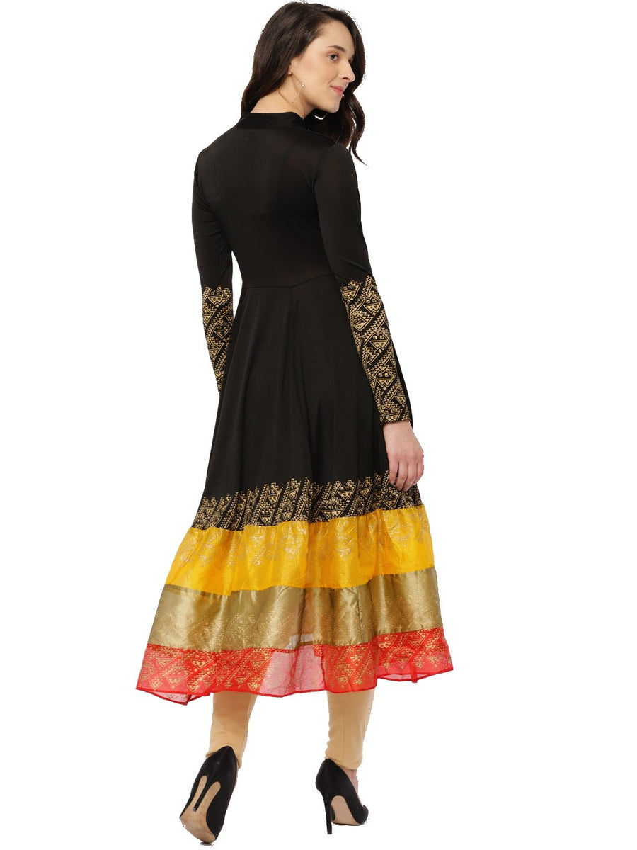 Black Full Sleeve Chinese Collar Knee Length Flared Anarkali kurti