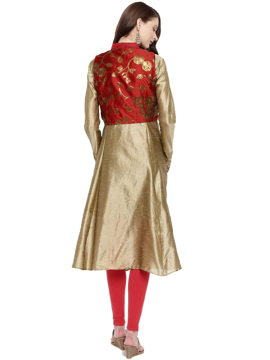 Golden Embellished Full Sleeve Round Neck A-line Kurti With Reversible Jacket