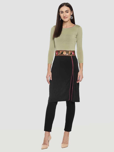 Ira Soleil Embroidered Waist with Dual Colour Straight Fit kurti