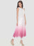 Pink-White Ombre Sleeveless Round Neck Calf Length Anarkali Kurti with Pink Crop Shrug