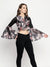 Ira Soleil Flared Sleeve Printed Crop Jacket