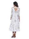 Floral Printed White Three-Fourth Sleeve Round Neck Knee Length Flare Dress