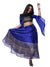 Blue Printed Round Neck Blouse and Blue Lehenga