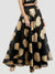 Ira Soleil Embellished Floral Print Flared Long Skirt