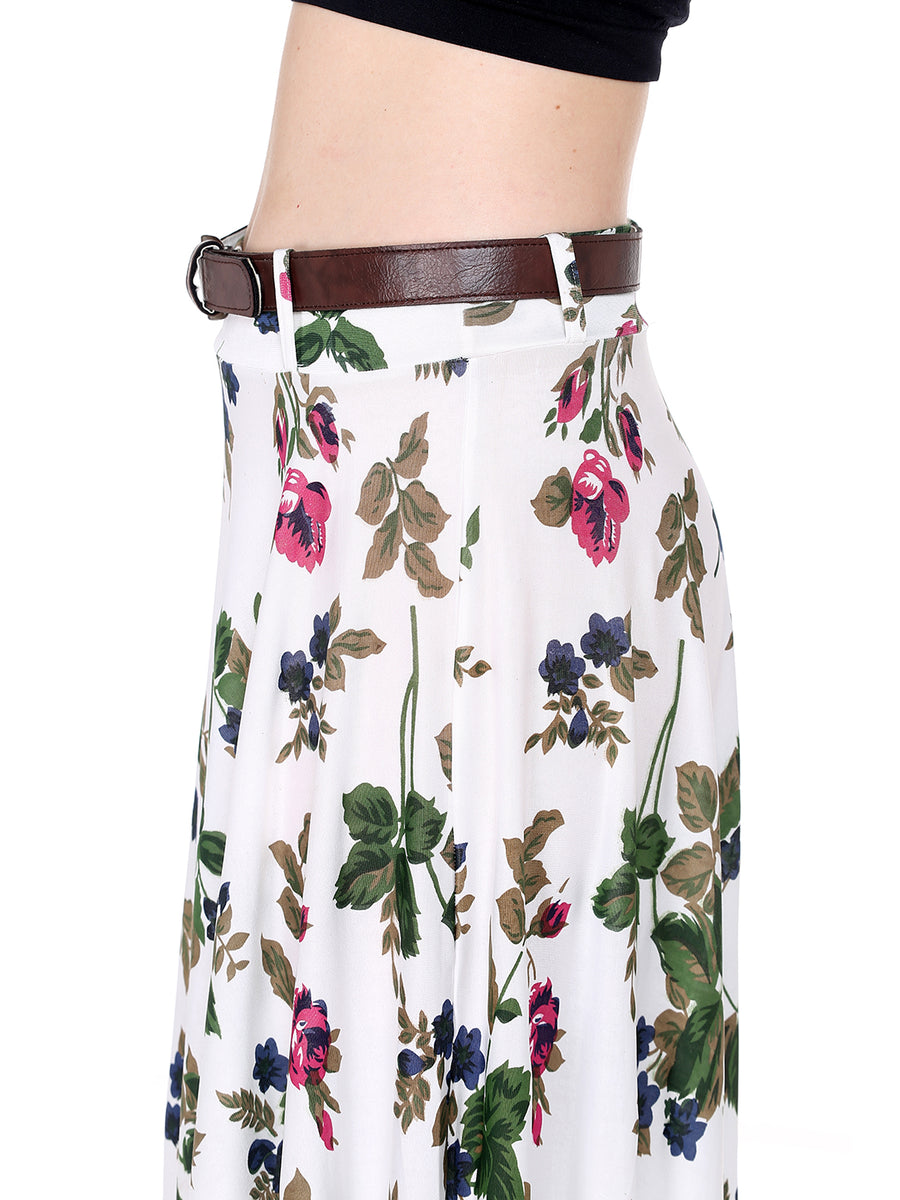Ira Soleil Floral Printed Long Flared Skirt