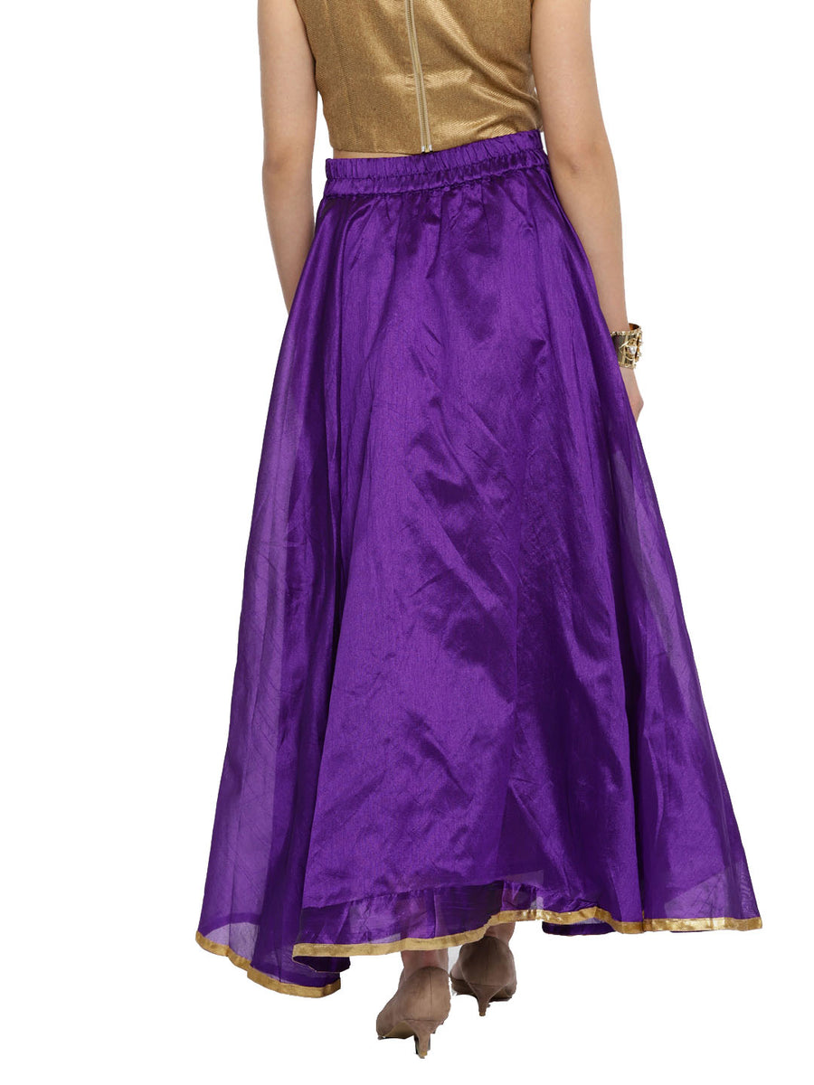 PRINTED PURPLE FLARE FLOOR LENGTH SKIRT