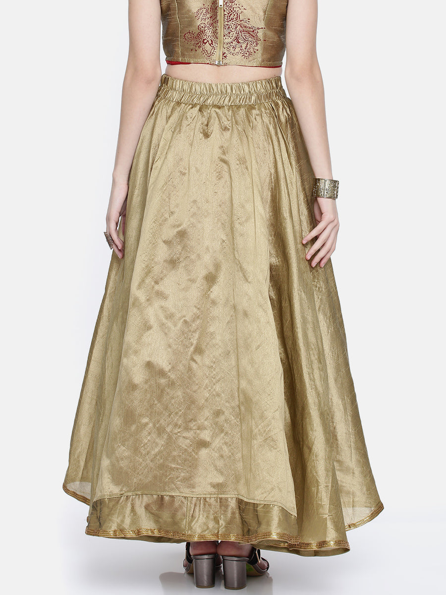 Ira Soleil Reversible Flared Flared Long Skirt
