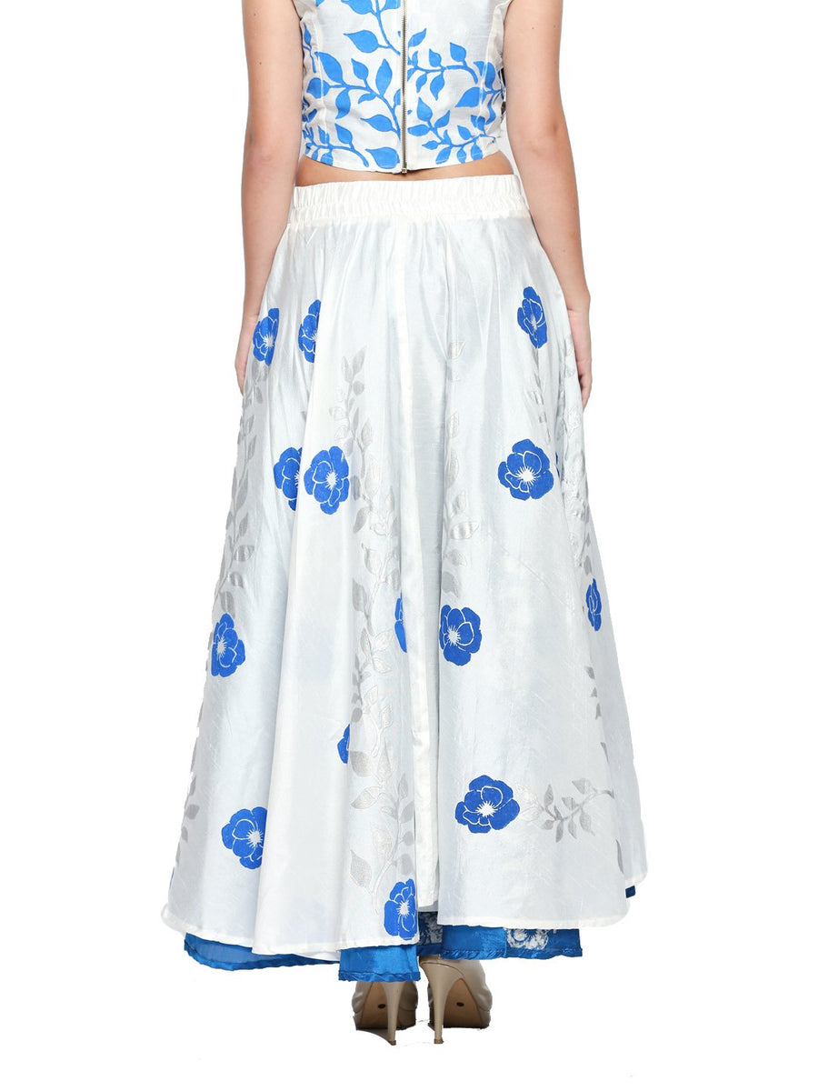 Printed White Flared Floor Length Reversible Skirt
